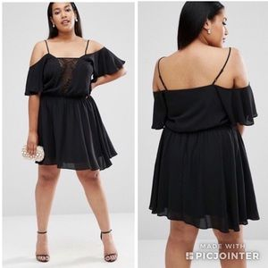 Asos Curve Lace Insert Black Dress
